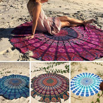 Honana WX 16 150cm Bohemian Style Thin Chiffon Beach Shawl Mat Mandala Round Silk Scarf Bed Sheet Tapestry