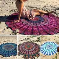 Honana WX-16 150cm Bohemian Style Thin Chiffon Beach Shawl Mat Mandala Round Silk Scarf Bed Sheet Tapestry