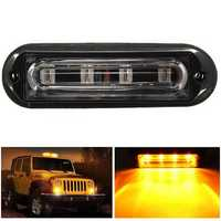 4 LED Waterproof Car Truck Strobe Flash Warning Light Side Maker Light Amber DC 12 24V