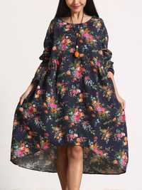 Women Retro Floral Printing Kaftan Long Sleeve Maxi Dress