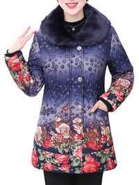 Fashion Elegant Women Printing Dots Fur Collar Thick Cotton Coat