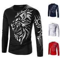 Mens Quick Drying Tattoo Dragon Printing Casual Long Sleeve Slim Fit T-shirts