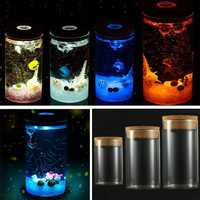 DIY Moss Micro Landscape Cylinder Glass Bottle with Colorful LED Light Succulent Plants Vase
