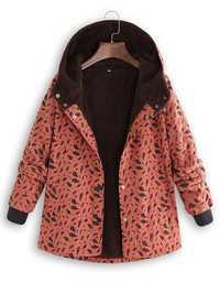 Plus Size Women Leaf Print High Collar Pockets Hooded Coats