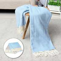 100% Cotton EHC Herringbone Single Or King Sofa Armchair Blankets Throw White & Blue