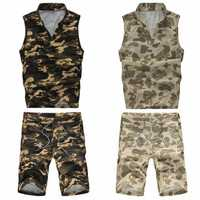 Summer Mens Casual Couples Sports Suit Camouflage Vest Shorts Sportswear