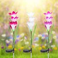 Colorful 4 LED Waterproof Light Control Solar Light Lily Flower Landscape Lamp for Outdoor Garden