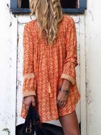 Women Casual V-Neck Lace Patchwork Long Sleeve Mini Dress