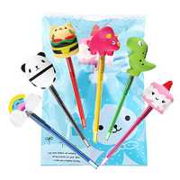 Squishy Pen Cap Panda Dinosaur Unicorn Cake Animal Slow Rising Jumbo With Pen Stress Relief Toys Student School Supplies Office Gift