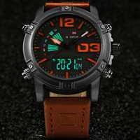 NAVIFORCE 9095 Fashion Sports Men Watch Casual Leather Band Sports Dual Movement Wristwatch