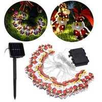 Solar/Battery Powered 6M 20LEDs Warm White Santa Claus Shaped Fairy String Light for Christmas