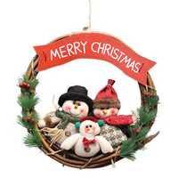 Christmas Rattan Wreath Wall Door Decorations Santa Claus Snowman Bear Garland