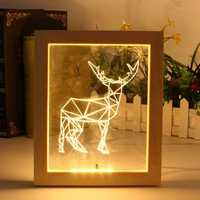 KCASA FL-722 3D Photo Frame Illuminative LED Night Light Wooden Elk Desktop Decorative USB Lamp For Bedroom Art Decor Christmas Gifts