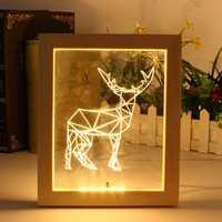 KCASA FL-722 3D Photo Frame Illuminative LED Night Light Wooden Elk Desktop Decorative USB Lamp For Bedroom Art Decor Christmas Gifts