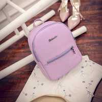 Women PU Leisure Candy Color School Bag Backpack
