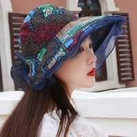 Women Wide Brimmed Empty Top Hat Sun Bucket Hat