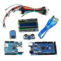 Mega 2560 R3 For Arduino Kit + HC-SR04 + Breadboard Cable + Relay Module + W5100 UNO Shield + LCD 1602 Keypad Shield