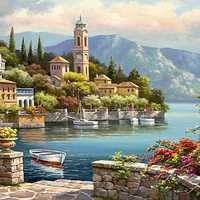 40X50CM Frameless Romantic Harbour Canvas Linen Canvas Oil Painting DIY Paint By Numbers
