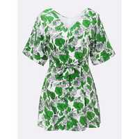 Bow Belt Slim Floral V Neck Women Chiffon Party Mini Dress
