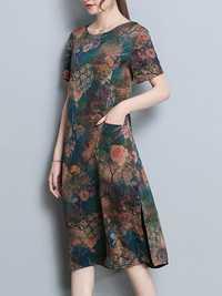 Vintage Floral Print Side Slit Pocket Dress