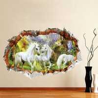Miico 3D Creative Unicorn Broken Wall Removable Home Room Decorative Wall Decor Sticker