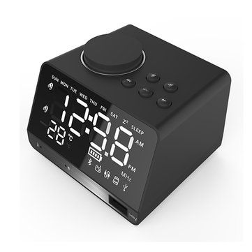 Dual Units Wireless bluetooth Speaker Bass LED Display Alarm Clock FM Radio U Disk Speaker With Mic