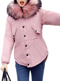 Plus Size Casual Women Hooded Fur Collar Thick Coats