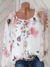 Women Off Shoulder Floral Print 3/4 Sleeve Shirts