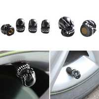 4Pcs Universal Resin Skull Head Car Wheel Tire Valve Stem Caps Automobiles Tyre Dustproof Lid Decora