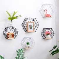 20cm Hexagon Wall Shelf Twill Trellis Storage Holders Wooden Rack Holder Home Decor Kitchen