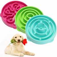 Pet Dog Cat Interactive Slow Food Bowl Healthy Feed Dish Pet Bowl