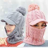 Women Winter Warm Headpiece Multifunction Knitted Hat