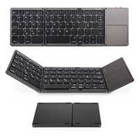 Mini Foldable 3.0 Bluetooth Keyboard With Touchpad Portable Mini Keyboard Black White