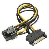 SATA 15 Pins to 8-pin PCI-E Socket Power Adapter Cable Lead