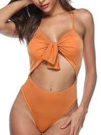 Wireless Padded High Waisted Hollow Out One Piece Swimsuit