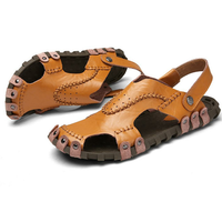 Men's Sandals Genuine Leather Soft Sole Casual Toe Breathable Cooler Shoes Summer Beach Cowhide