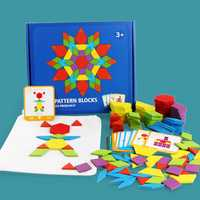 155Pcs/Set Wood Blocks Kits Early Bright Education Puzzle Toys Geometric Shape Jigsaw Puzzle Toy