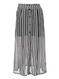 Sexy Stripe High Waist Slit Women Chiffon Beach Skirt