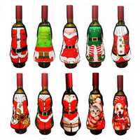 Small Apron Bottle Wine Cover Christmas Sexy Lady Dog Pinafore Red Wine Bottle Wrapper Holiday Bottle Clothes Dress