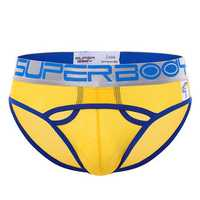 Mens Contrast Color Sexy Low Waist Underwear Nylon Wide Waistband Mesh Hollows Briefs