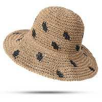 Women Foldable Sunscreen Bucket Straw Hat