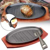 3 Sizes Cast Iron Steak Fajita Sizzling Platter Plate BBQ Grill Pan Cooking Wooden Holder