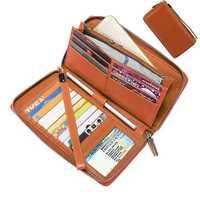 Brenice RFID Retro Genuine Leather Women Purse Long Wallet