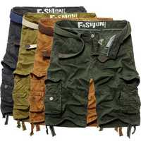 MenS-classic Casual Solid Cotton Multi Pocket Cargo Shorts Pants