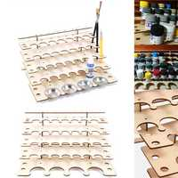 32 Pots Wooden Acrylic Paint Stand Bottle Storage Rack Holder Modular Organizer