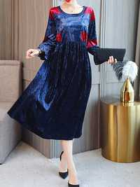 Women Floral Print O-neck 3/4 Sleeve Velvet Dress