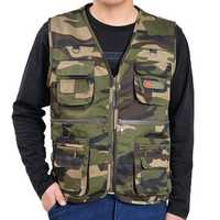 Multi Pocket Fishing Photography Double Layers Functional Outdooors Work Vest for Men