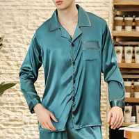 Imitation Silk Spring Summer Soft Lounge Home Sleepwear Suit