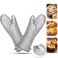 1Pair BBQ Oven Microwave Gloves Heat Resistant Cooking Glove 17 Inches Slicone Cloth Oven Mitts