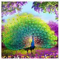 5D DIY Cross Stitch Decorations Diamond Embroidery Peacock Opens Screen Painting